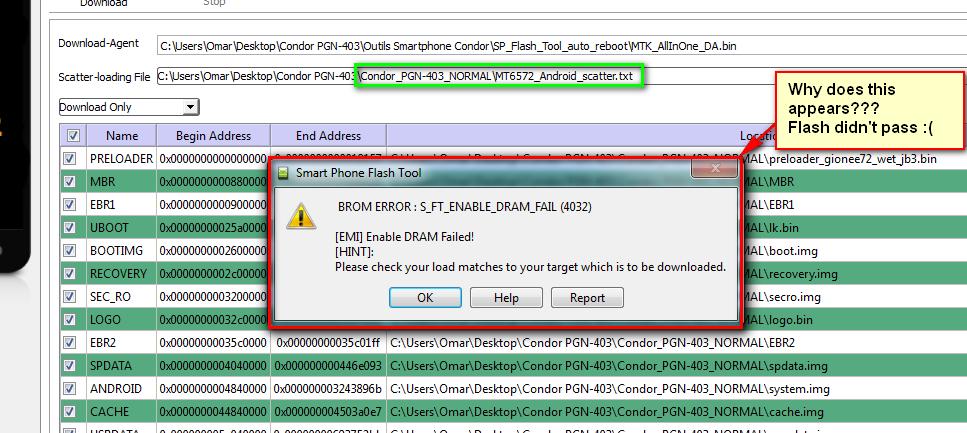 فلاشة Condor PGN-403 لم تمر باستعمال SP Flash Tool