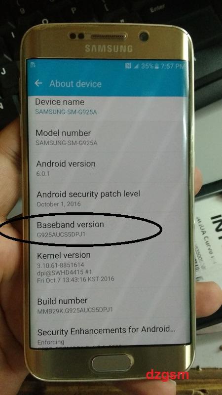 حل مشكلة Imei Null و BASEBAND UNKNOWN لهاتف Samsung S6 Edge SM-G925A .