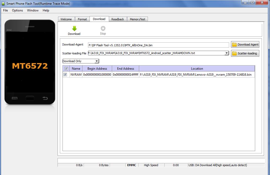 استرجاع IMEI هاتف Lenovo A319 بعد  التفليش باستخدام ملف NVRAM